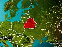 Map of Belarus on Earth. Belarus in the morning highlighted in red on planet Earth with visible border lines and city lights. 3D illustration. Elements of this Royalty Free Stock Photos