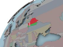 Map of Belarus with flag. Belarus on political globe with embedded flags. 3D illustration Royalty Free Stock Photos