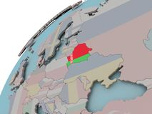 Map of Belarus with flag. Belarus on political globe with embedded flags. 3D illustration Stock Photo