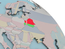 Map of Belarus with flag. Illustration of Belarus on political globe with embedded flags. 3D illustration Stock Photo