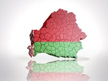 Map of  Belarus. Map of Belarus with Belorussian Flag on a white background Stock Photos