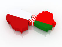 Map of Belarus and Poland. Royalty Free Stock Image