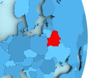 Map of Belarus in red. Belarus in red on simple blue political globe with visible country borders. 3D illustration Stock Photo