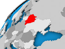 Map of Belarus in red. Belarus on simple political globe with visible country borders. 3D illustration Stock Image