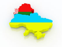 Map of Belarus and Ukraine. Stock Photography