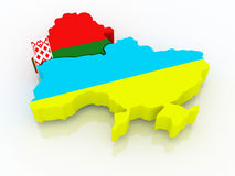 Map of Belarus and Ukraine. Royalty Free Stock Photo