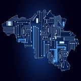 Map of Belgium with electronic circuit Stock Photography