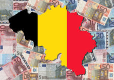 Map of Belgium with euros Royalty Free Stock Image