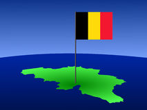 Map of Belgium with flag Stock Image