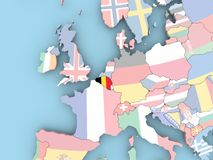 Map of Belgium with flag on globe Royalty Free Stock Photography