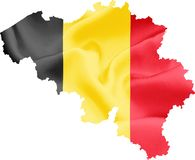 Map of Belgium with Flag. Map of Belgium with waving flag on satin texture isolated on white royalty free stock photo