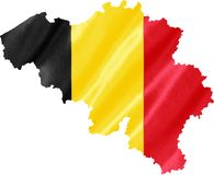 Map of Belgium with Flag. Map of Belgium with waving flag on satin texture isolated on white royalty free stock images