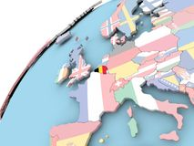 Belgium on globe with flag Royalty Free Stock Photo