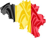 Belgium Map with Flag. Belgium map with waving flag on satin texture isolated on white royalty free stock photos