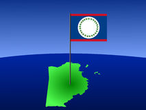 Map of Belize with flag Royalty Free Stock Photos