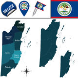 Map of Belize Royalty Free Stock Photos