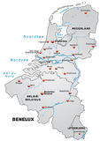 Map of Benelux Stock Photo