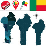 Map of Benin with Named Departments Royalty Free Stock Photo