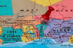 Map of  Benin with a red pushpin stuck Stock Image
