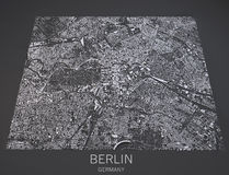 Map of Berlin, satellite view, map in negative, Germany Royalty Free Stock Photo