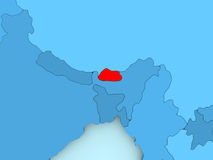 Map of Bhutan. Bhutan in red on blue political map. 3D illustration Stock Photo