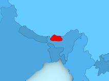 Map of Bhutan Stock Photo