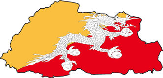Map Bhutan-Vector. Illustration Vector of a Map and Flag from Bhutan Royalty Free Stock Images
