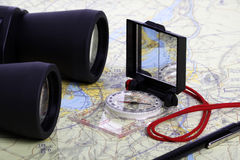 Map,  Binoculars and compas -1 Stock Photography