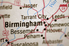 Map of Birmingham. Alabama and surrounding area royalty free stock photography