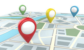 Map with Blank Pointers. 3D render of a Map with 4 Large GPS Pointers. Green, red, yellow and blue. Blank for Copy Space Stock Photography