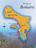 Map of Boanire showing dive sites Stock Image