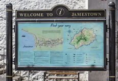 Map board at the entrance of the city. Map and welcoming message board at the entrance of Jamestown, St Helena Royalty Free Stock Photography