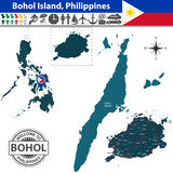 Map of Bohol island, Philippines. Vector of Bohol island, Philippines. Map contains Cebu island, roads and travel icons Stock Image