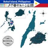 Map of Bohol island, Philippines Stock Image
