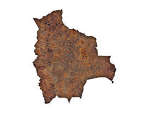 Map of Bolivia on rusty metal Stock Photography