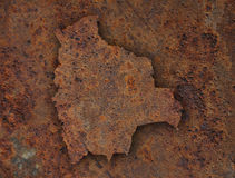 Map of Bolivia on rusty metal Stock Image