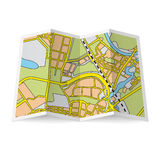 Map booklet. Illustration of folded booklet on white background Stock Photos