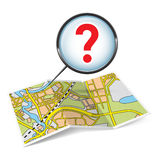 Map booklet  with question mark Stock Photography