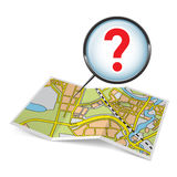 Map booklet  with question mark. City map booklet with question mark on white background Royalty Free Stock Photo