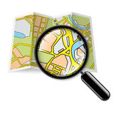 Map booklet with zoom. City map booklet with magnifying glass on white background Royalty Free Stock Image