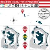 Map of Bora Bora island, French Polynesia Royalty Free Stock Photography