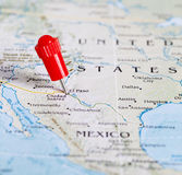 Map of the border between USA and Mexico. Needle in El Paso. Royalty Free Stock Photos