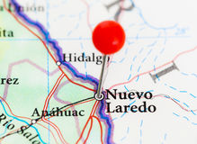 Map of the border between USA and Mexico. Needle in Nuevo Laredo. Royalty Free Stock Photography
