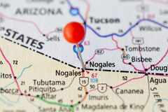 Map of the border between USA and Mexico. Nogales. Royalty Free Stock Image
