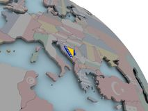 Map of Bosnia with flag. Illustration of Bosnia on political globe with embedded flags. 3D illustration Royalty Free Stock Photo