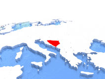 Map of Bosnia on globe Stock Photos