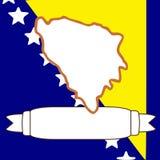 Map of Bosnia-Herzegovina. An illustration of Bosnia-Herzegovina and flag Stock Photos