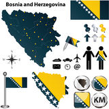 Map of Bosnia and Herzegovina Royalty Free Stock Photography