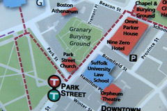 Map of Boston, namely where Granary Burying Ground is Royalty Free Stock Photography