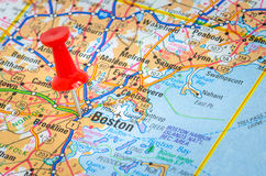 Map of Boston with a Pushpin. City of Boston Highlighted on a Road Map Royalty Free Stock Photography
